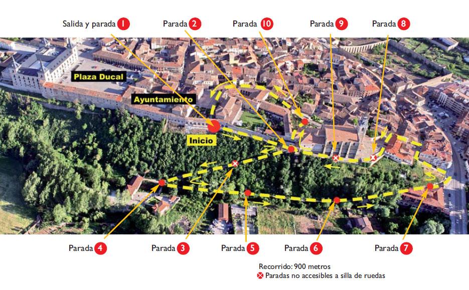 Itinerario sobre mapa de la ladera norte de Lerma